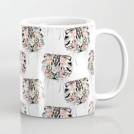 Cute Pink Cat & watercolor flowers Animal Pattern Coffee Mug