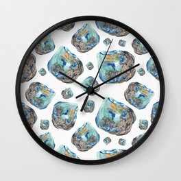 Opal October Birthstone Watercolor Illustration Wall Clock
