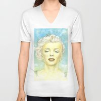 comic book V-neck T-shirts featuring Marilyn Monroe comic book cover by Storm Media