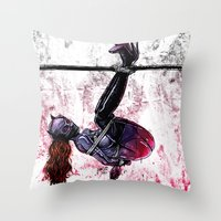 bondage Throw Pillows featuring Bondage Catwoman by lucille umali