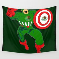mexico Wall Tapestries featuring Captain Mexico  by RDsix3