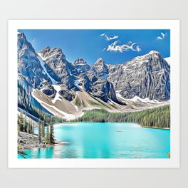 Mountain Lake Canada Airbrush Artwork Art Print
