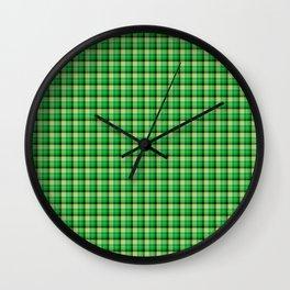 Lime Green Scottish Tartan Texture Wall Clock
