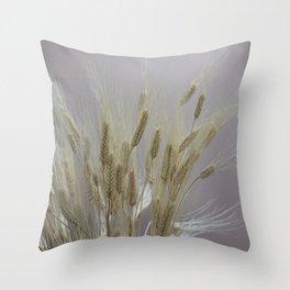 wheat ears in the farm Throw Pillow