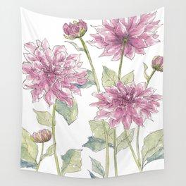 Magenta Dahlias Illustration Wall Tapestry