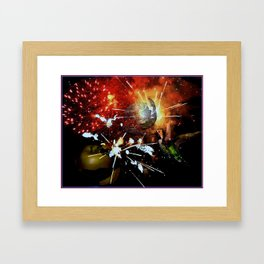 Fireworks explode in space Framed Art Print
