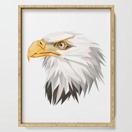 Triangular Geometric American Bald Eagle Head Serving Tray