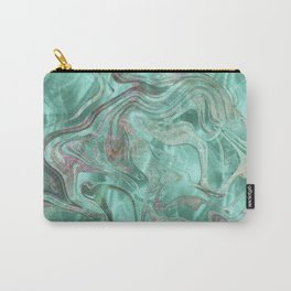 Mint Gem Green Marble Swirl Carry-All Pouch