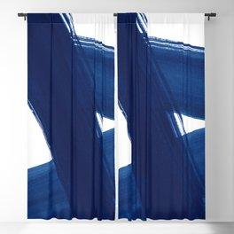 Indigo Abstract Brush Strokes   No. 4 Blackout Curtain