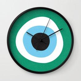Emerald Dark Green Evil Eye Symbol Wall Clock