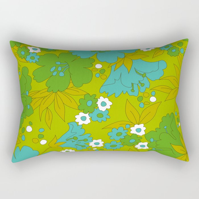 Green, Turquoise, and White Retro Flower Design Pattern Rectangular Pillow
