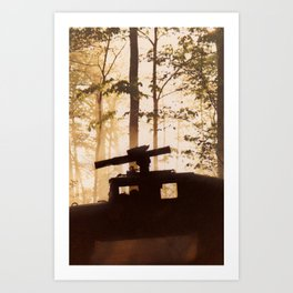 HUMV with Rocket Launcher in the foggy woods Art Print