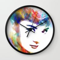 audrey hepburn Wall Clocks featuring Audrey Hepburn by Michael Akers