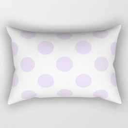 Geometric Orbital Circles In Pale Delicate Summer Fresh Lilac Dots on White Rectangular Pillow