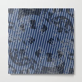 Blue grunge stripes on white background Metal Print