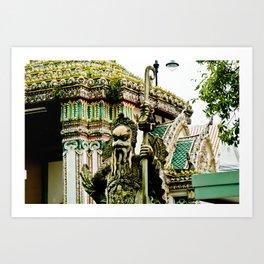The Stone Guardians of Wat Pho, Bangkok, Thailand. Color Art Print