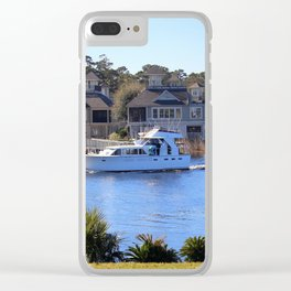 Palm Tree Boat Framed Clear iPhone Case