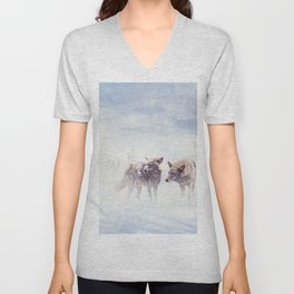 Two coyotes walking  in the winter snow Unisex V-Neck