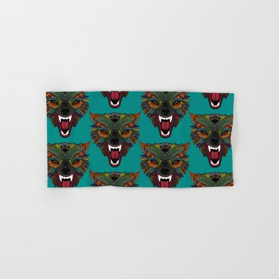 wolf fight flight teal Hand & Bath Towel