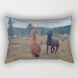 The Challenge - Ranch Horses Fighting Rectangular Pillow