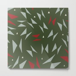 Geometric forest green red hand painted triangles Metal Print