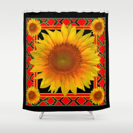 RED-TEAL BLACK  DECO YELLOW SUNFLOWERS Shower Curtain
