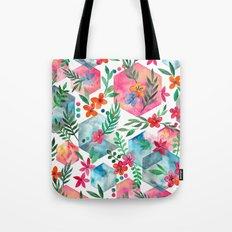 Whimsical Hexagon Garden on white Tote Bag