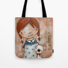 Her Favorite Fella - Red-haired girl and white boxer Tote Bag