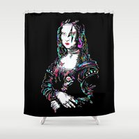 mona lisa Shower Curtains featuring metal mona lisa by Vector Art