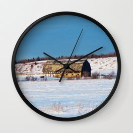 Barn gets a little glow from the Sun as it sits, waiting to be torn apart. Wall Clock