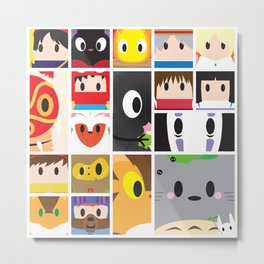 World of Ghibli Blocks Metal Print
