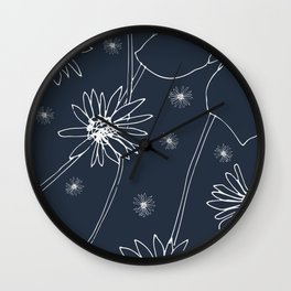Dandelions Drawing on Blue Wall Clock