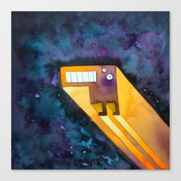 Tetris Monster Zooming Canvas Print