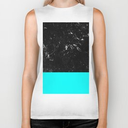 Aqua Blue Meets Black Marble #1 #decor #art #society6 Biker Tank