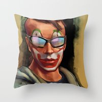 grand theft auto Throw Pillows featuring Grand Theft Auto Online Characters - The Legend of The Damned by W.Flemming