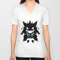 gengar V-neck T-shirts featuring Who's That Inkblot?  It's Gengar! by DelverStudios