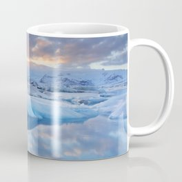 Icebergs in Jökulsárlón glacier lake at sunset Coffee Mug