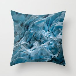 Blue Ice Glacier in Norway - Landscape Photography Throw Pillow