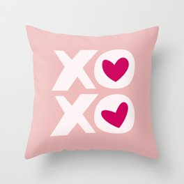 XOXO in Pink and White with Raspberry Heart Throw Pillow
