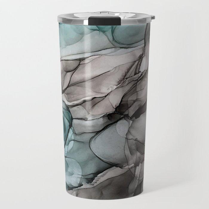Smoky Grays and Green Abstract Flow Travel Mug