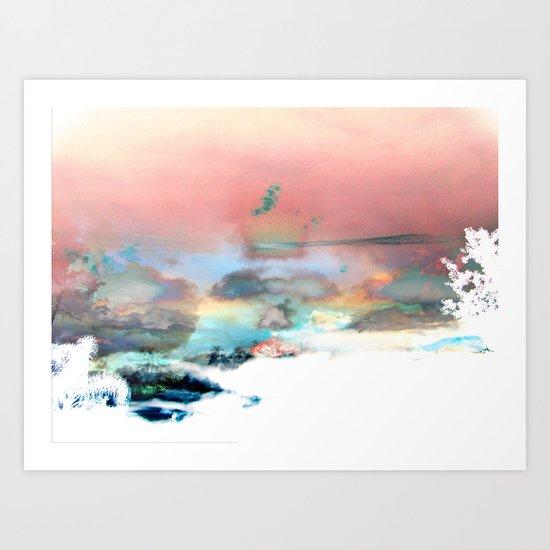 Clouds like Splattered Watercolor Art Print