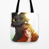 hiccup Tote Bags featuring Toothless x Hiccup  by Asad Farook