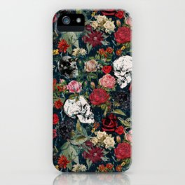 Distressed Floral with Skulls Pattern iPhone Case