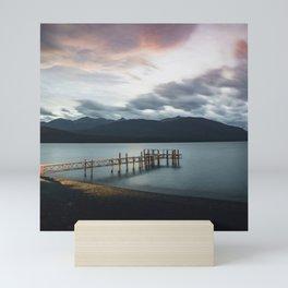 Sunset at the Te Anau pier in New Zealand Mini Art Print