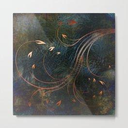Autumn Flames on Indigo Metal Print