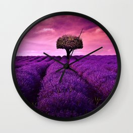 Pink Sunset in Fields of Lavender portrait Wall Clock
