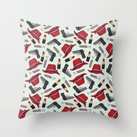 peggy carter Throw Pillows featuring Peggy Carter Pattern by HayPaige