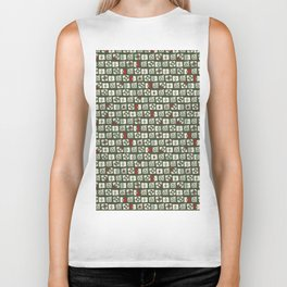 Geometrical green white red abstract stripes squares pattern Biker Tank