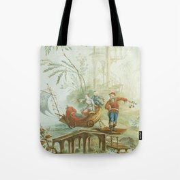 Light Green & Red Chinoiserie Tote Bag
