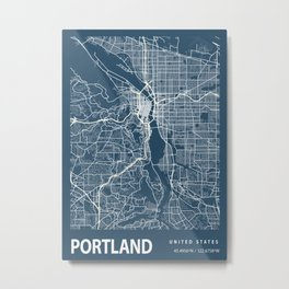 Portland Blueprint Street Map, Portland Colour Map Prints Metal Print